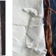 COMPOSIZIONE 2: Base legno cm 40x185, colori acrilici metallizzati, gesso, yuta e rame.