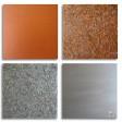 COMPOSIZIONE 4: Base legno 4 pezzi cm 25x25, colori acrilici metallizzati, filo metallico tagliato a chiodini.