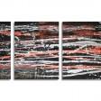 COMPOSIZIONE 9: Base legno 3 pezzi cm 40x20-30-40, colori acrilici metallizzati, yuta e filo metallico tagliato a chiodini.