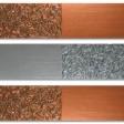 COMPOSIZIONE 11: Base legno 3 pezzi cm 60x15, colori acrilici metallizzati e filo metallico tagliato a chiodini.