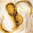 NODO D'AMORE: Base Legno cm 90x90, corda, garza ingessata, colori acrilici metalizzati, lamina oro